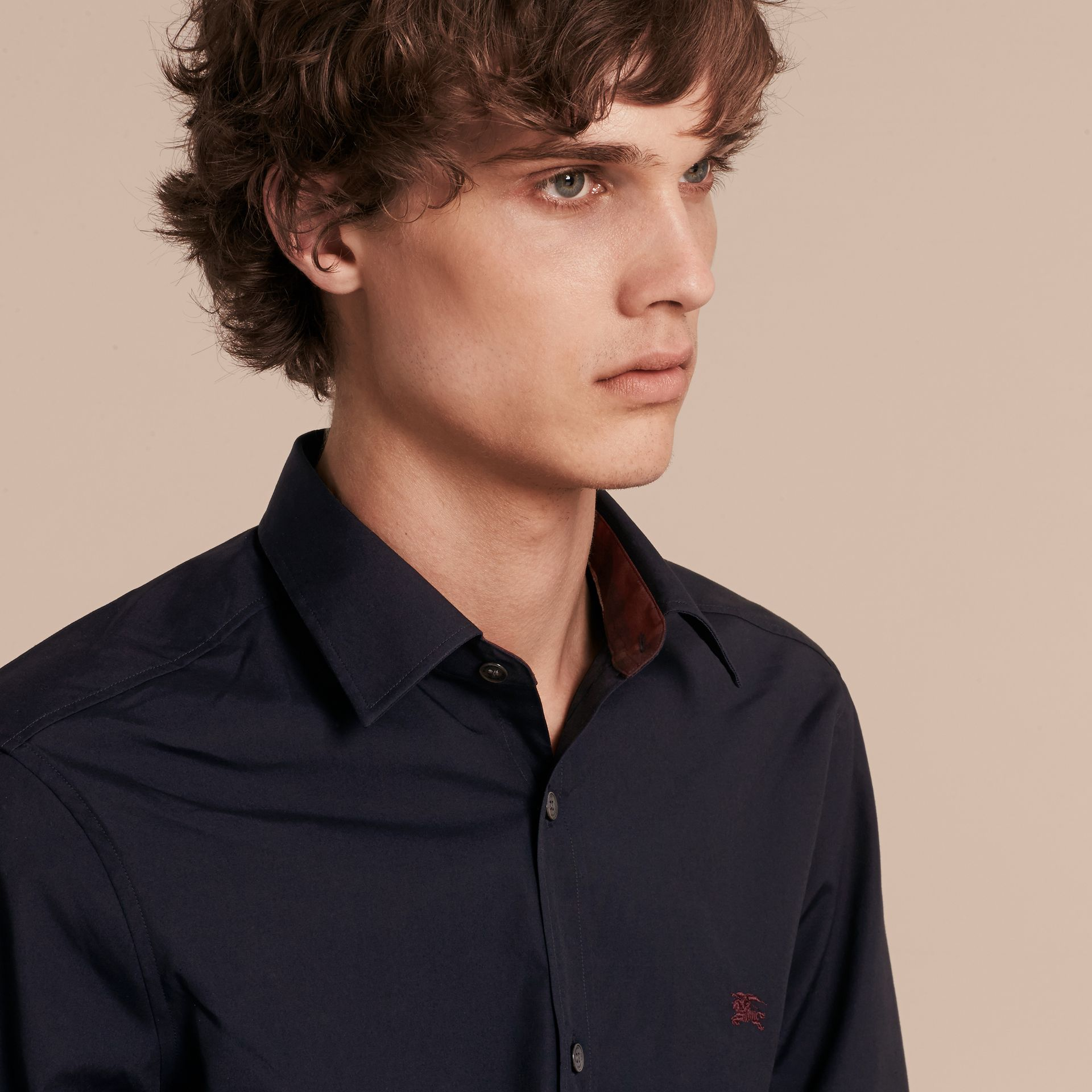 Check Detail Stretch Cotton Shirt Navy - gallery image 5