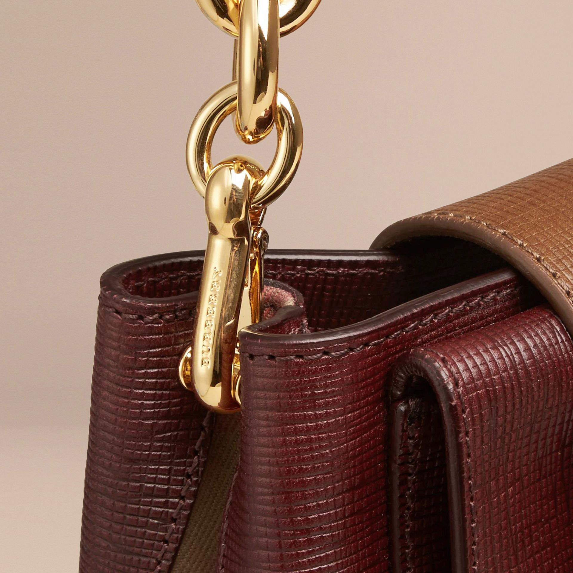Burgundy The Small Square Buckle Bag in Leather and House Check Burgundy - gallery image 6