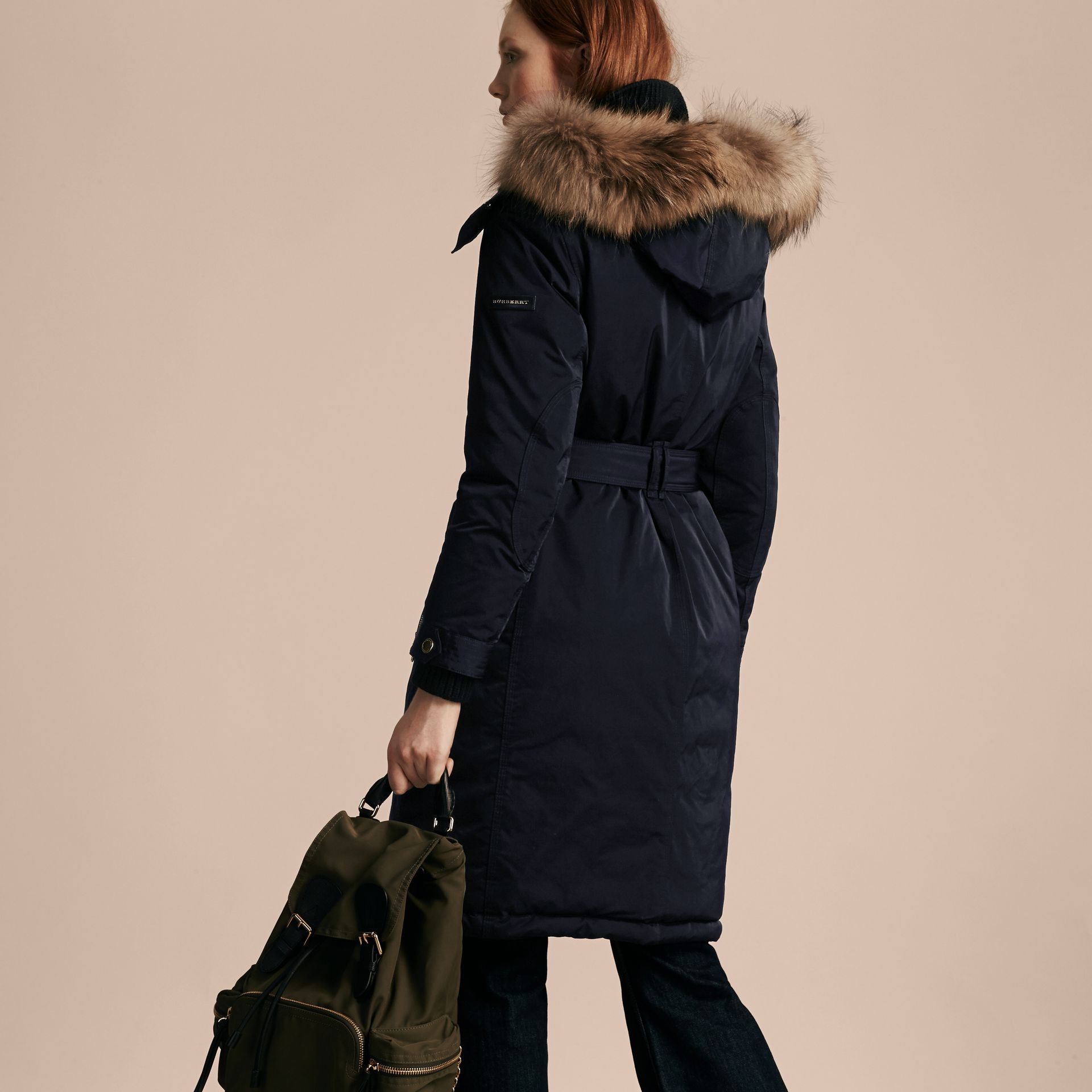 Navy Down-filled Parka Coat with Detachable Fur Trim Navy - gallery image 3