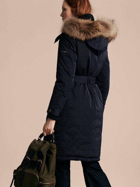 Down-filled Parka Coat with Detachable Fur Trim - cell image 2