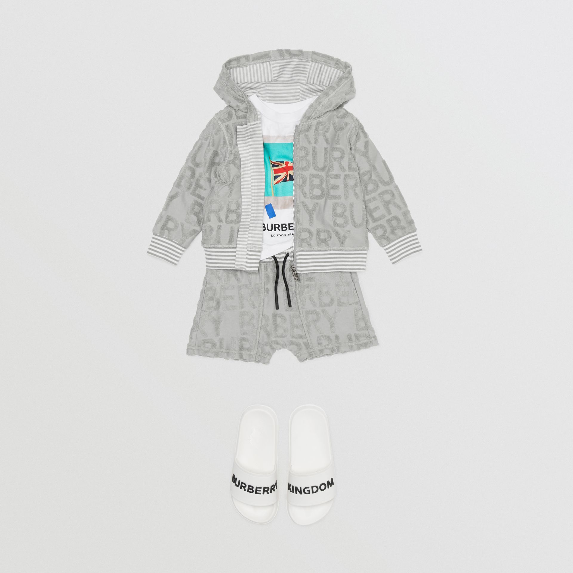 Logo Towelling Hooded Top in Pale Grey - Children | Burberry United Kingdom - gallery image 3