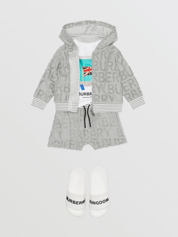 Logo Towelling Hooded Top in Pale Grey - Children | Burberry - cell image 3