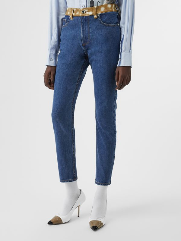 Skinny Fit Deer Print Trim Japanese Denim Jeans in Mid Blue - Women | Burberry - cell image 3