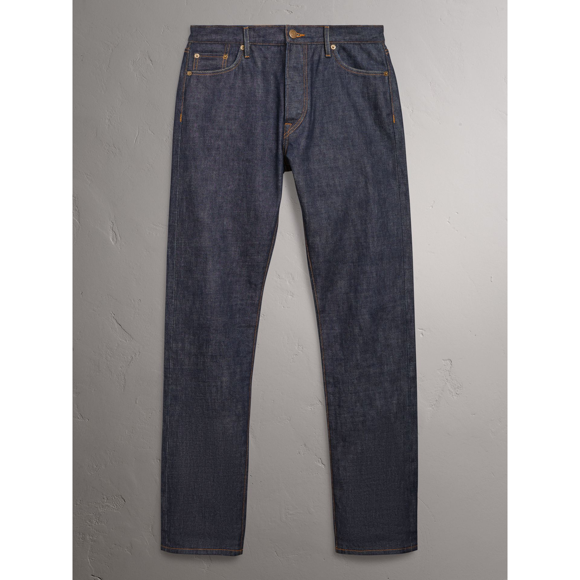 Relaxed Fit Japanese Selvedge Denim Jeans in Mid Indigo Blue - Men | Burberry United Kingdom - gallery image 3