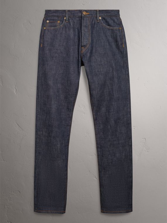 Relaxed Fit Japanese Selvedge Denim Jeans in Mid Indigo Blue - Men | Burberry United Kingdom - cell image 3