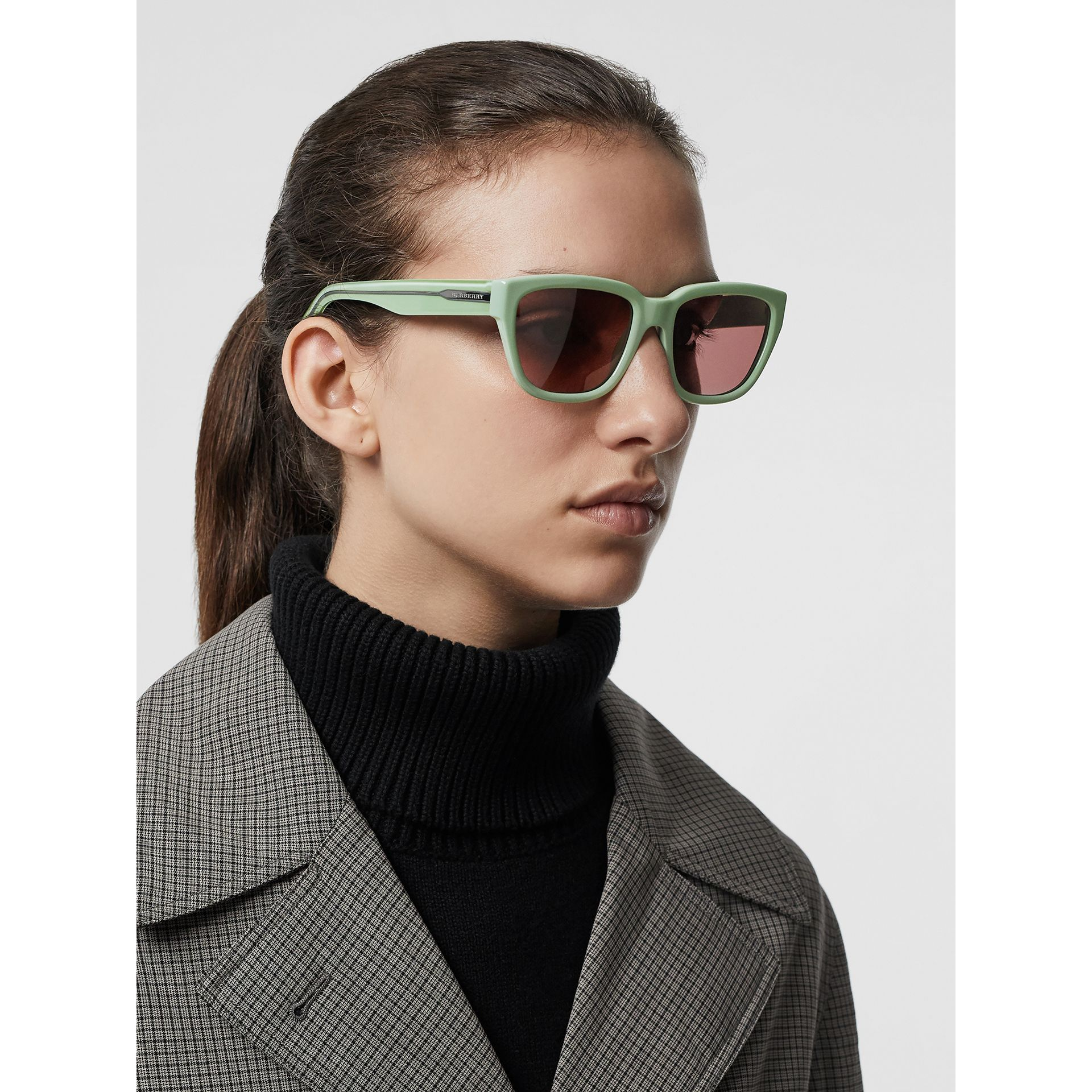 Square Frame Sunglasses in Mint Green - Women | Burberry - gallery image 2