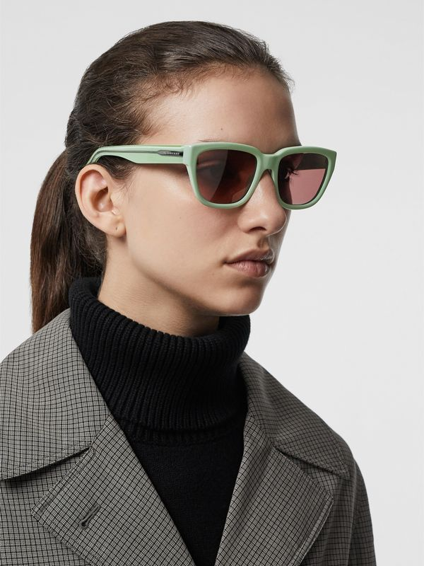 Square Frame Sunglasses in Mint Green - Women | Burberry - cell image 2