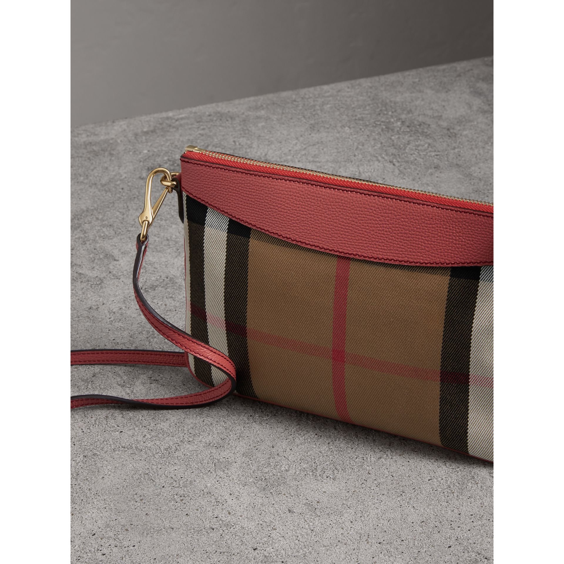 House Check and Leather Clutch Bag in Cinnamon Red - Women | Burberry Australia - gallery image 4