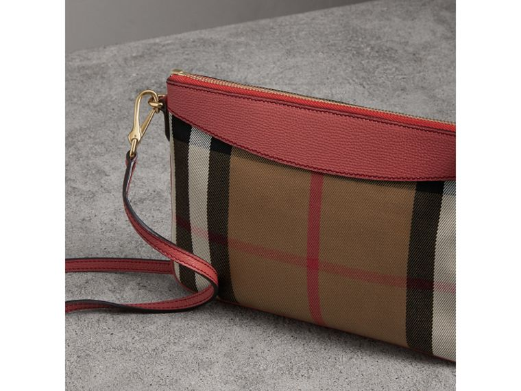 House Check and Leather Clutch Bag in Cinnamon Red - Women | Burberry - cell image 4