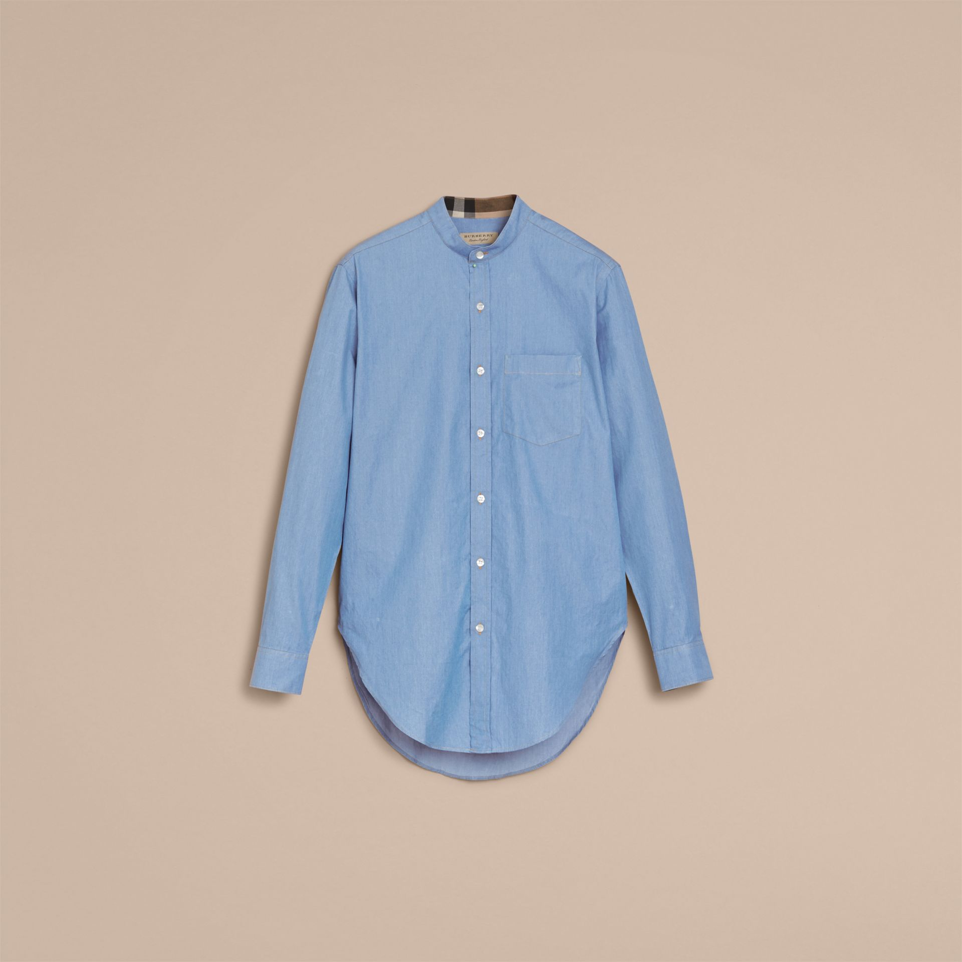 Grandad Collar Denim Shirt - gallery image 4