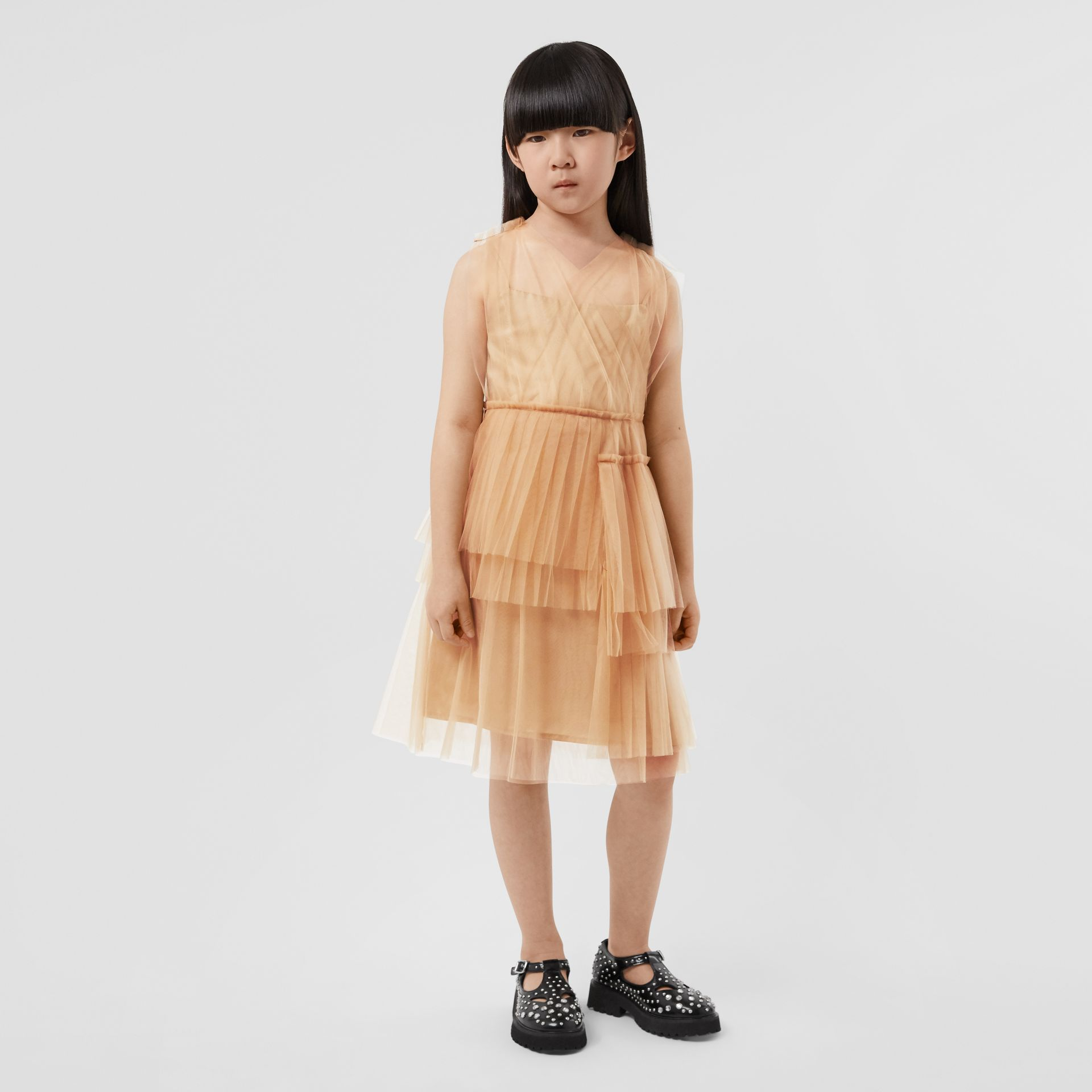 Tulle Tiered Dress in Oyster Beige | Burberry - gallery image 2