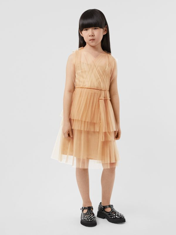 Tulle Tiered Dress in Oyster Beige | Burberry - cell image 2