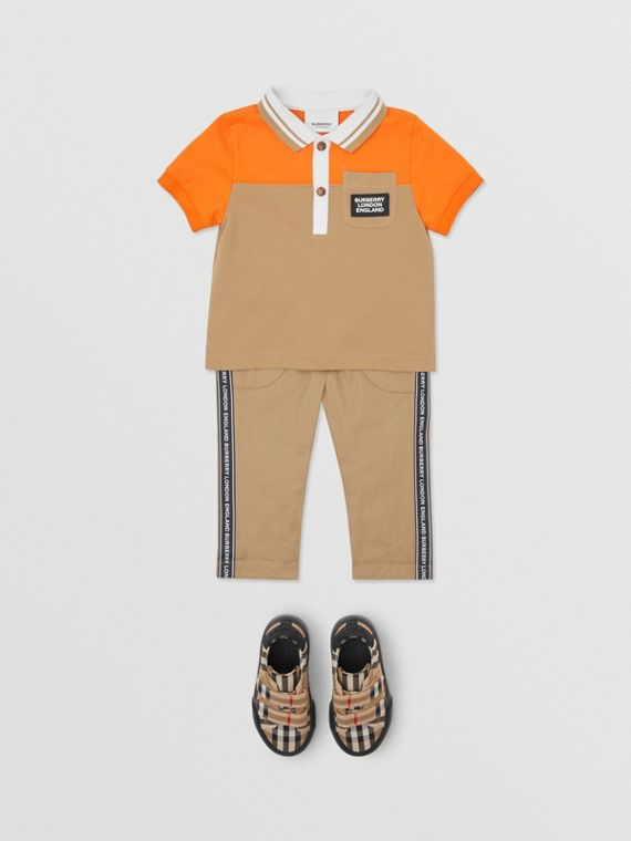 Colour Block Cotton Piqué Polo Shirt in Bright Mandarin