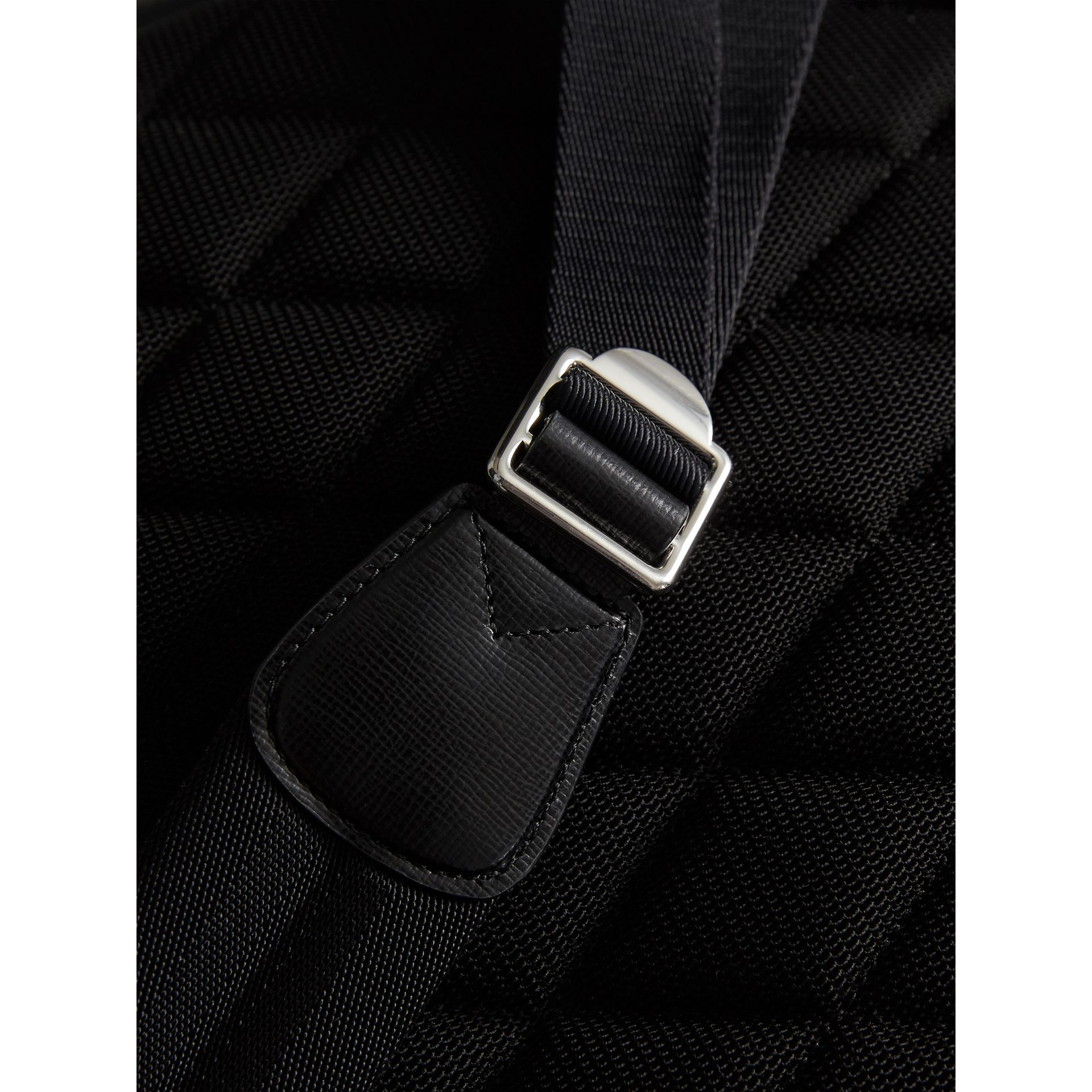 Leather Trim London Check Backpack in Charcoal/black - Men | Burberry - gallery image 1