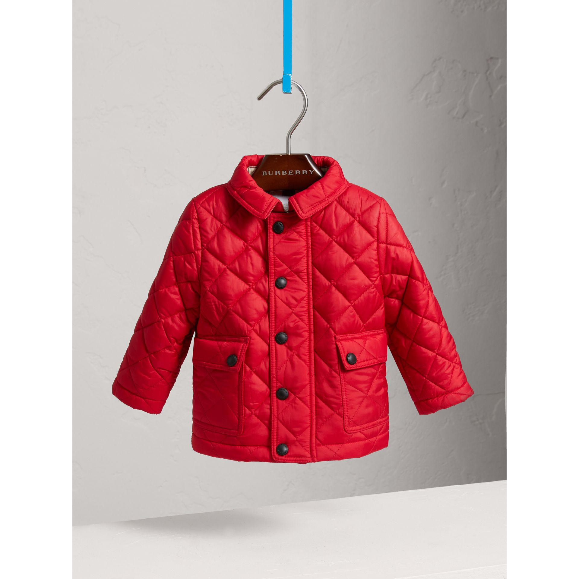 Check Detail Diamond-quilted Jacket in Bright Cherry Red | Burberry - gallery image 0
