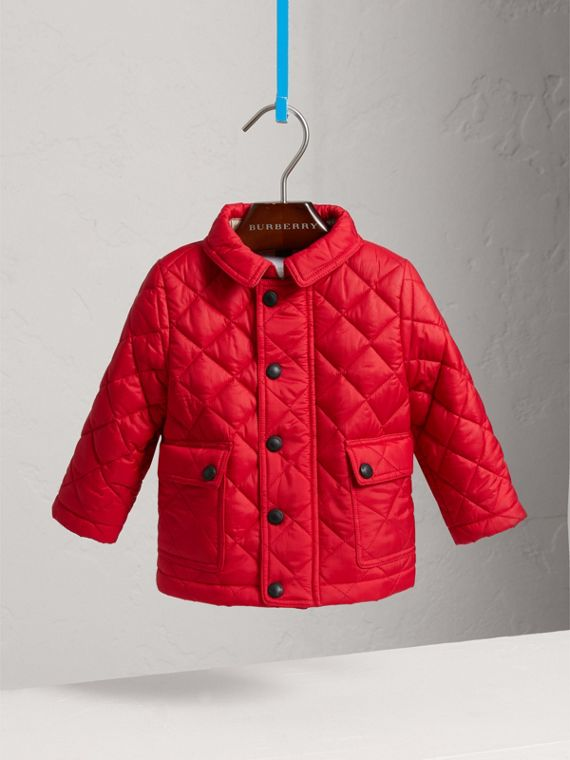 Check Detail Diamond-quilted Jacket in Bright Cherry Red