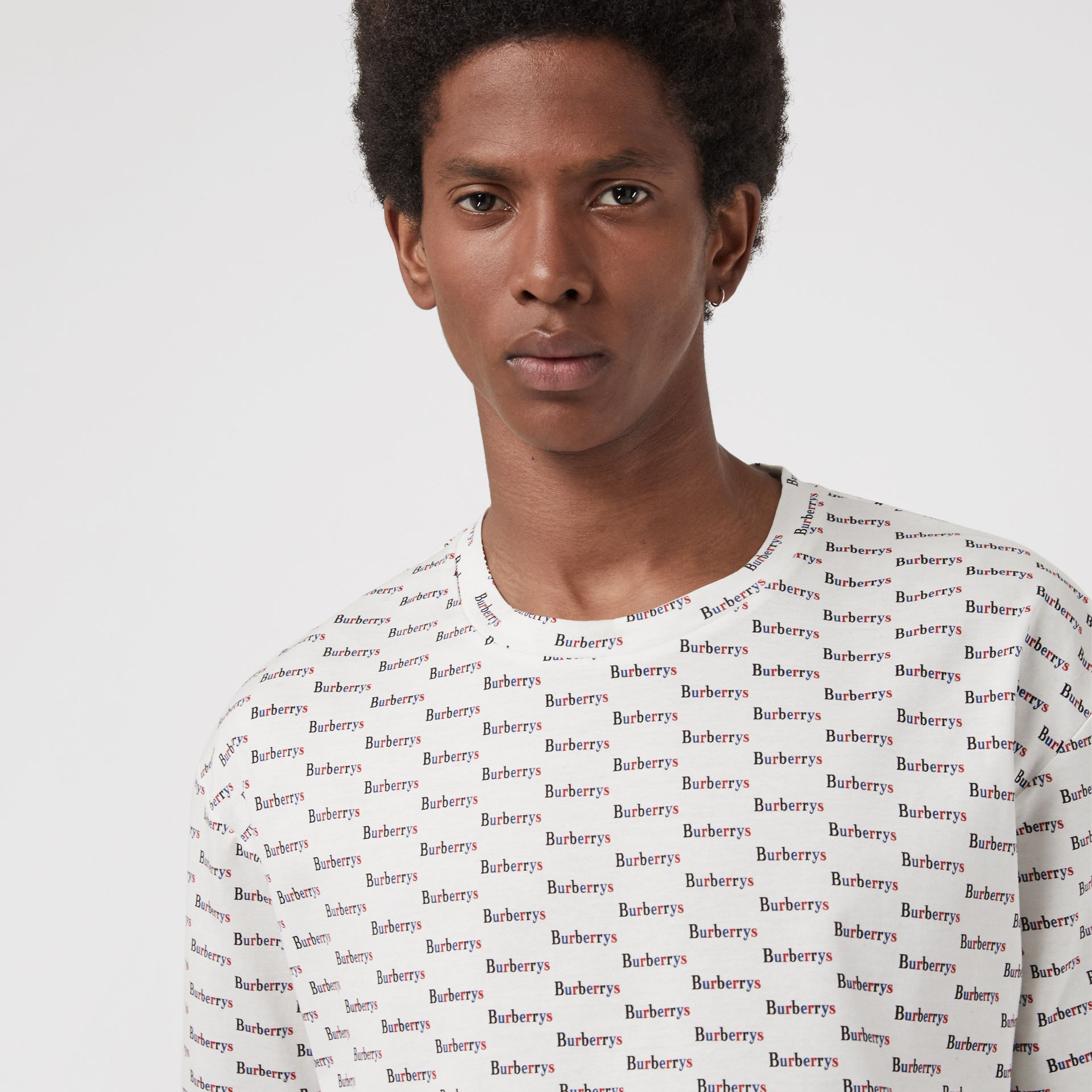 Archive Logo Print Cotton T-Shirt in White - Men | Burberry United States - gallery image 1
