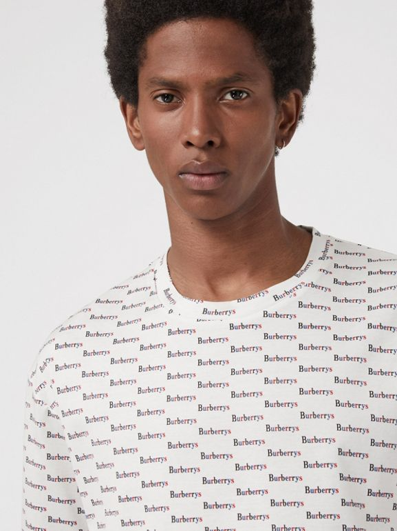 Archive Logo Print Cotton T-Shirt in White - Men | Burberry United Kingdom - cell image 1