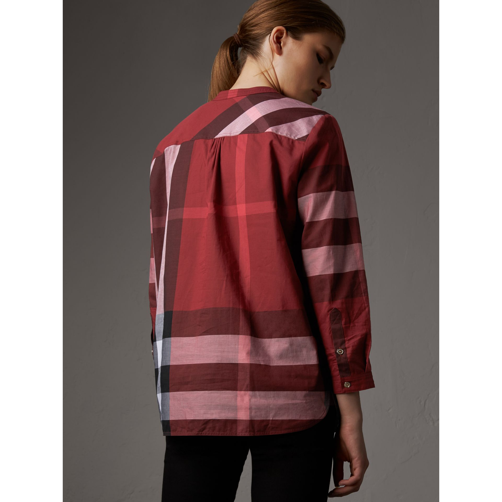 Check Grandad Collar Shirt in Carmine Red - Women | Burberry Singapore - gallery image 3