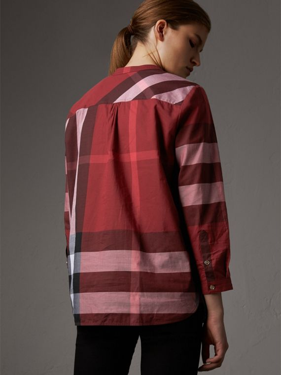 Check Grandad Collar Shirt in Carmine Red - Women | Burberry Singapore - cell image 2