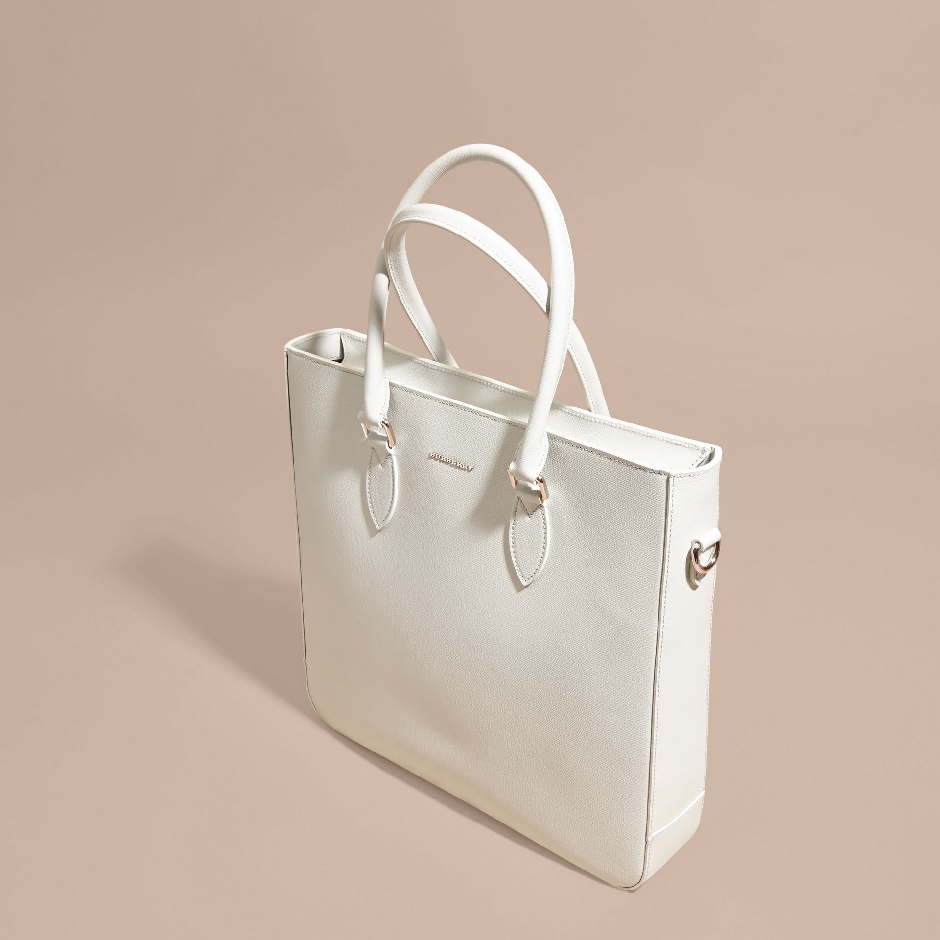London Leather Tote Bag in Pale Stone - gallery image 8