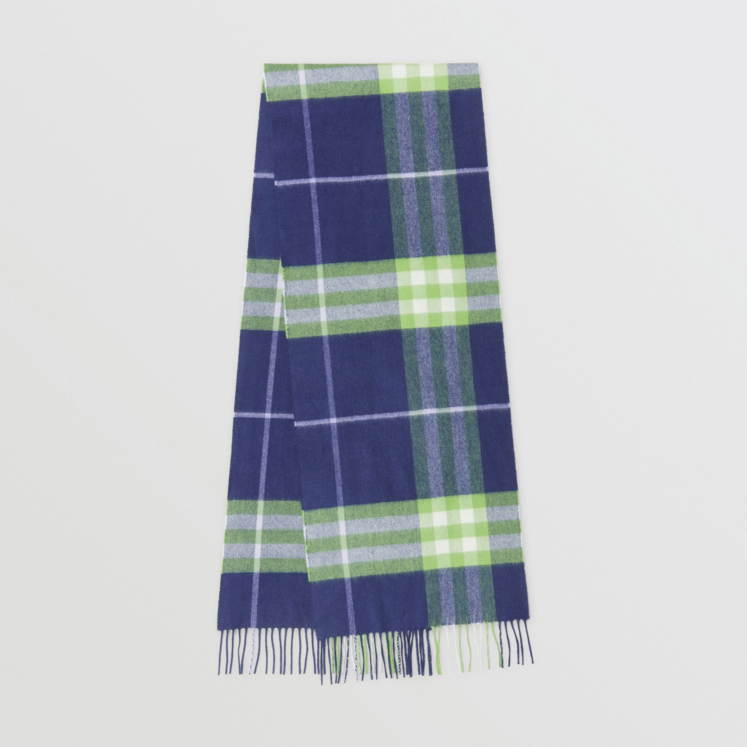 The Classic Check Cashmere Scarf in Bright Indigo/green | Burberry - 1