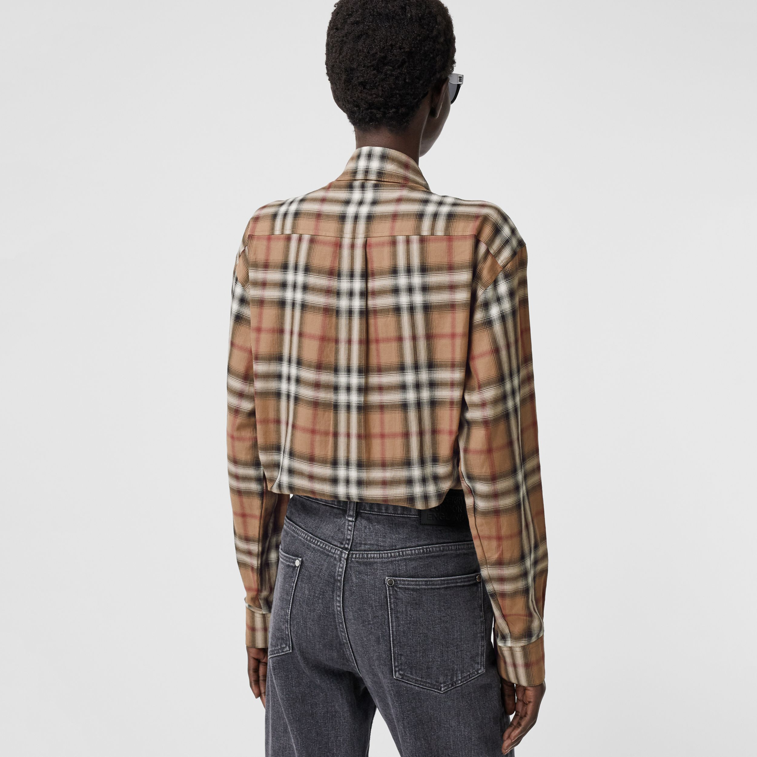 Ombré Check Cotton Twill Oversized Shirt in Birch Brown - Women | Burberry United Kingdom - 3