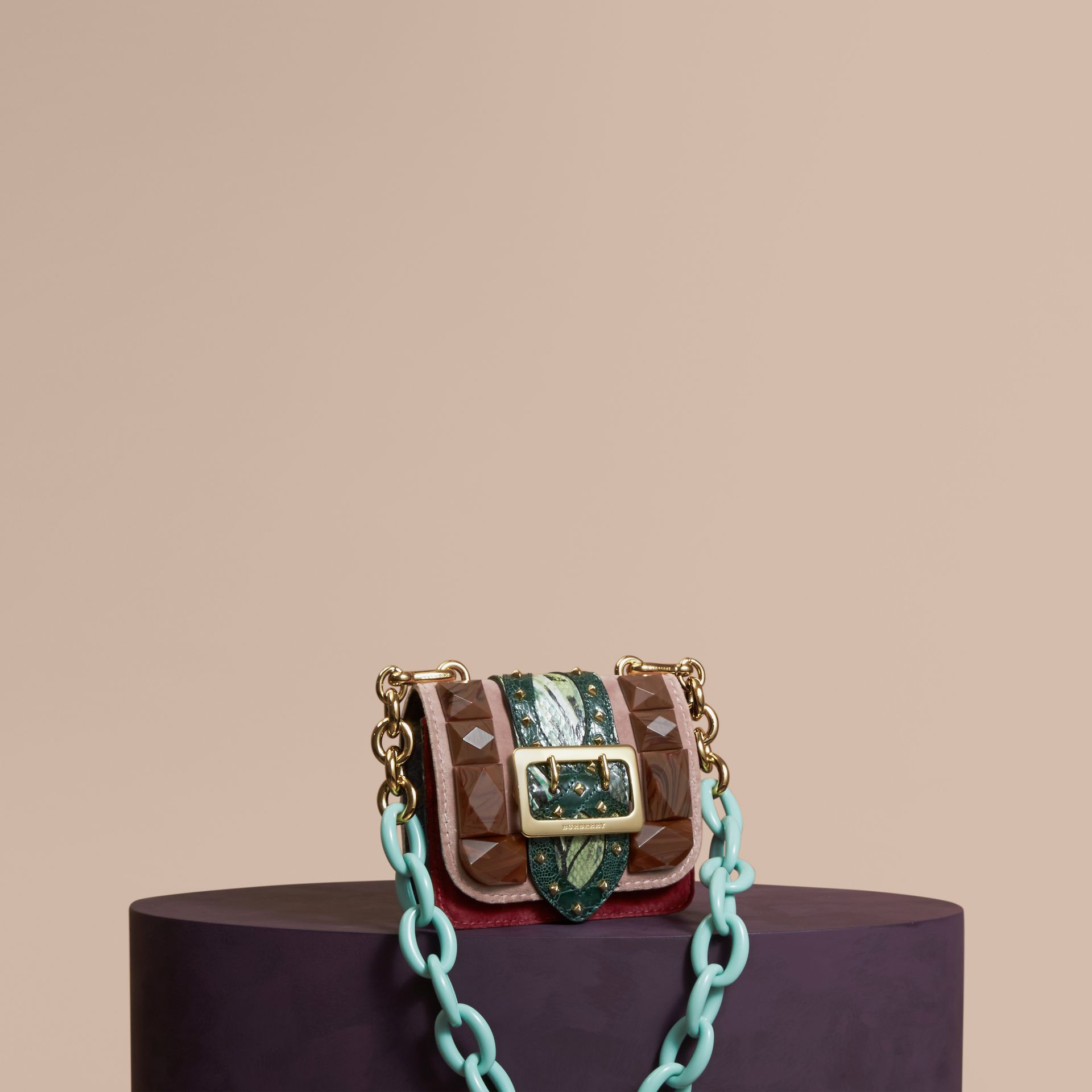 Ash rose The Mini Square Buckle Bag in Velvet and Floral Print Snakeskin - gallery image 1