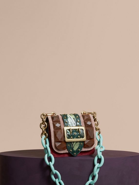 The Mini Square Buckle Bag in Velvet and Floral Print Snakeskin