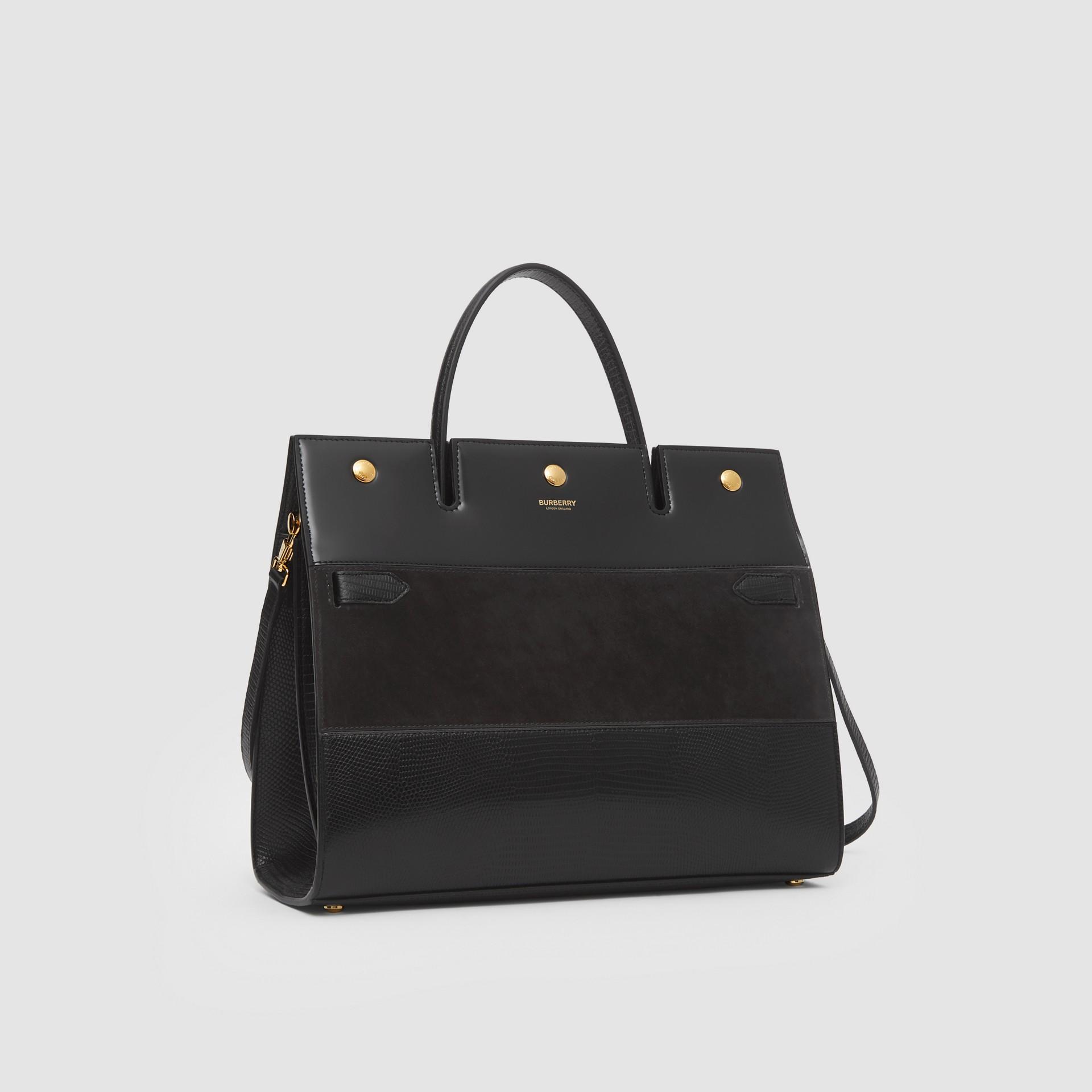 Sac Title moyen en cuir de cerf et cuir velours (Noir) - Femme | Burberry Canada - photo de la galerie 6