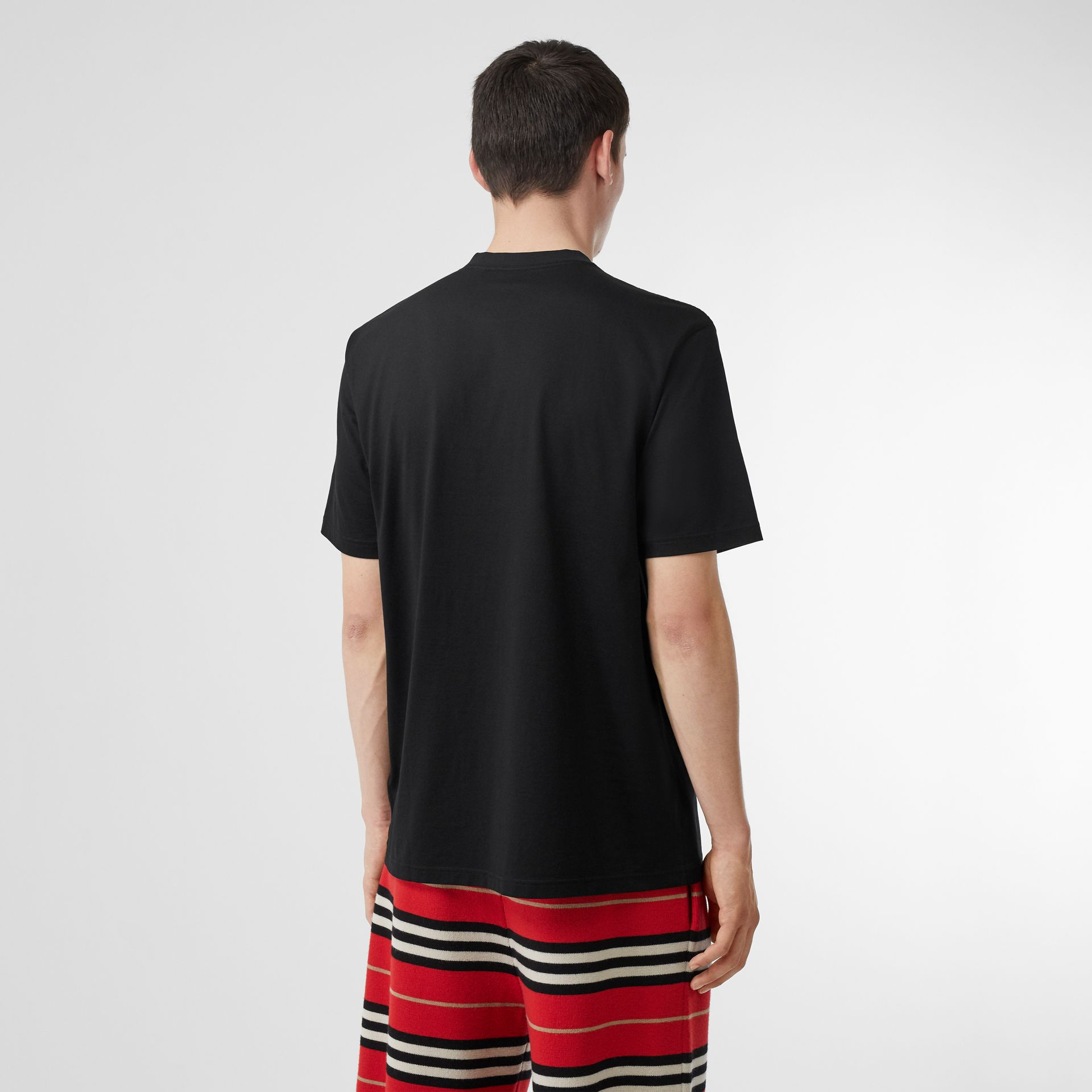 Monogram Motif Cotton Oversized T-shirt in Black | Burberry - gallery image 2