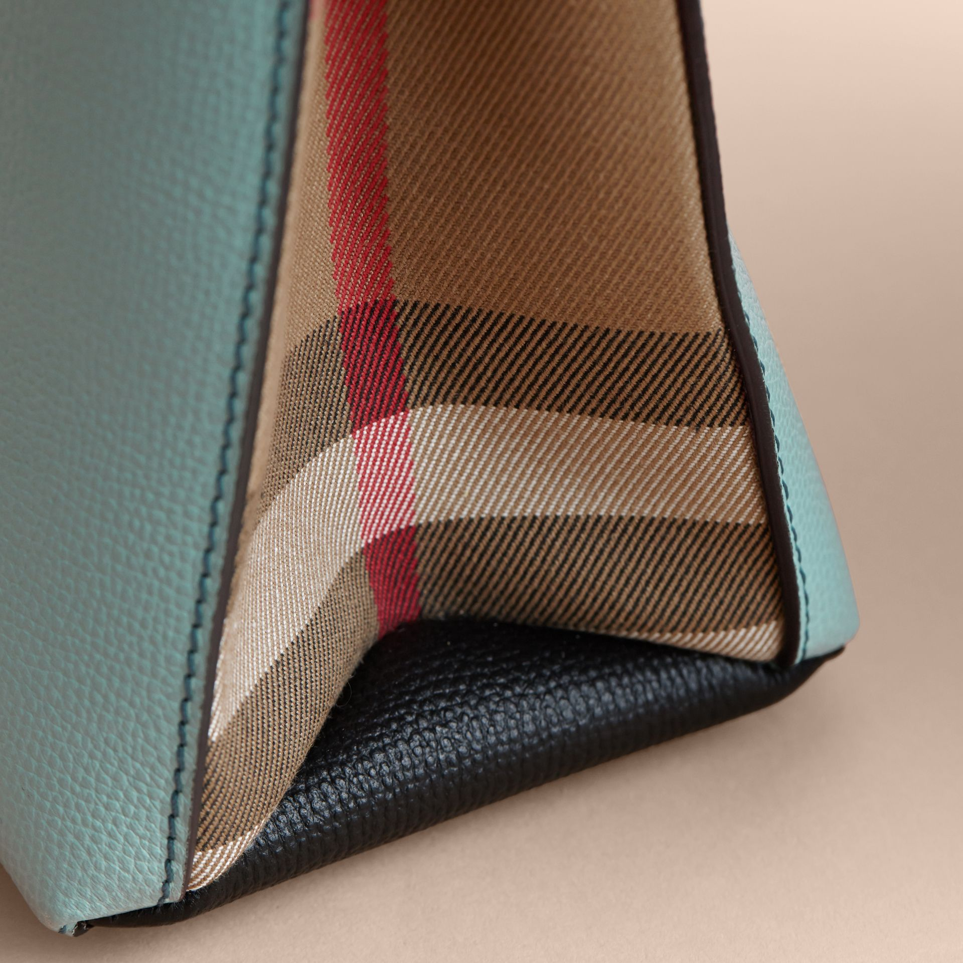 The Small Banner in Tri-tone Leather and House Check in Pale Opal/slate Blue - Women | Burberry - gallery image 7