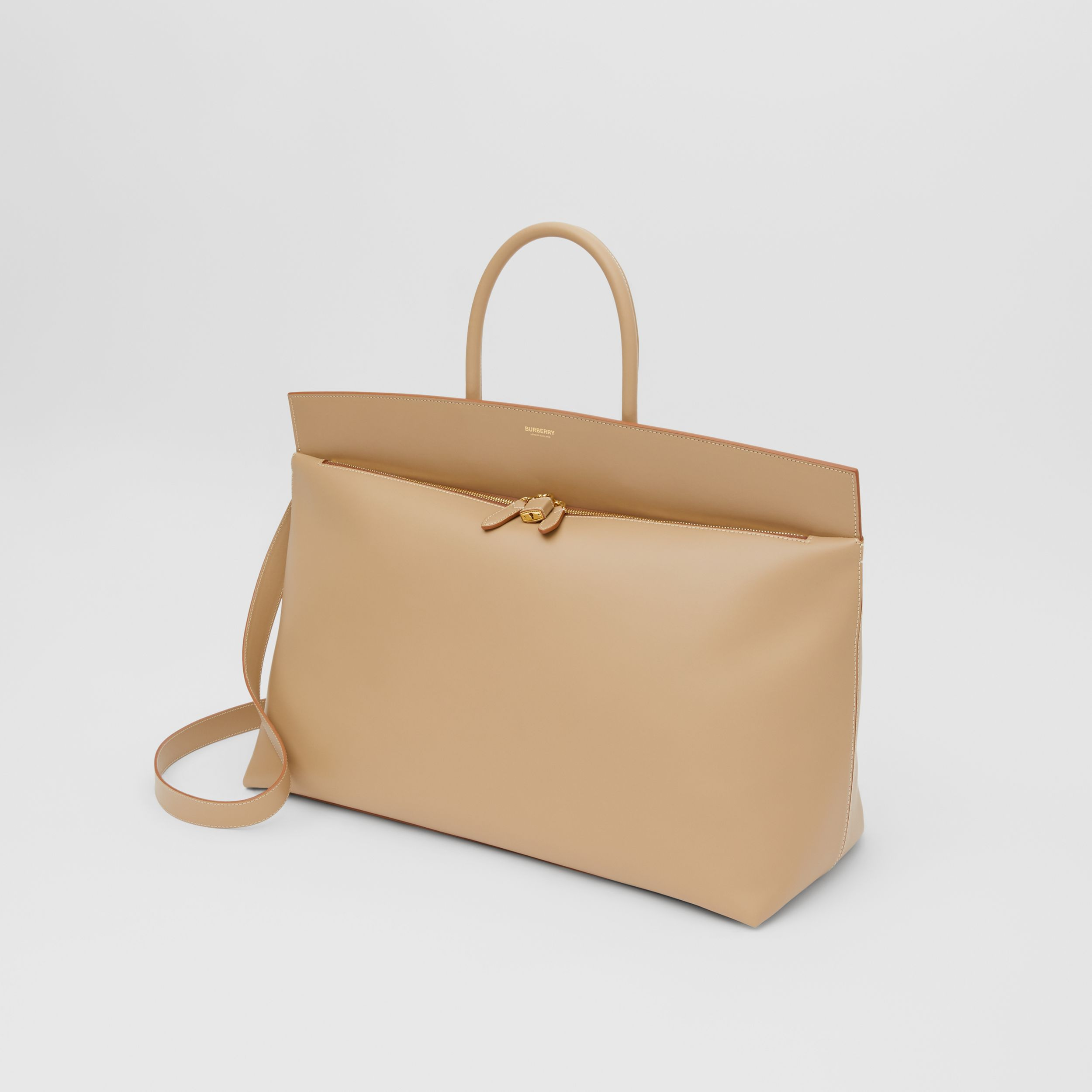 Extra Large Leather Society Top Handle Bag in Honey | Burberry - 4