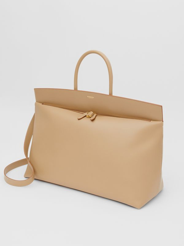 Extra Large Leather Society Top Handle Bag in Honey - Men | Burberry United Kingdom - cell image 2