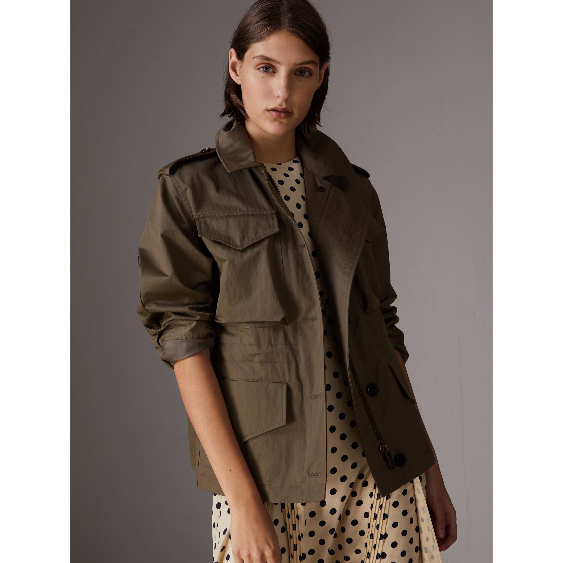 Showerproof Field Jacket in Dark Olive - Women | Burberry - gallery image 5