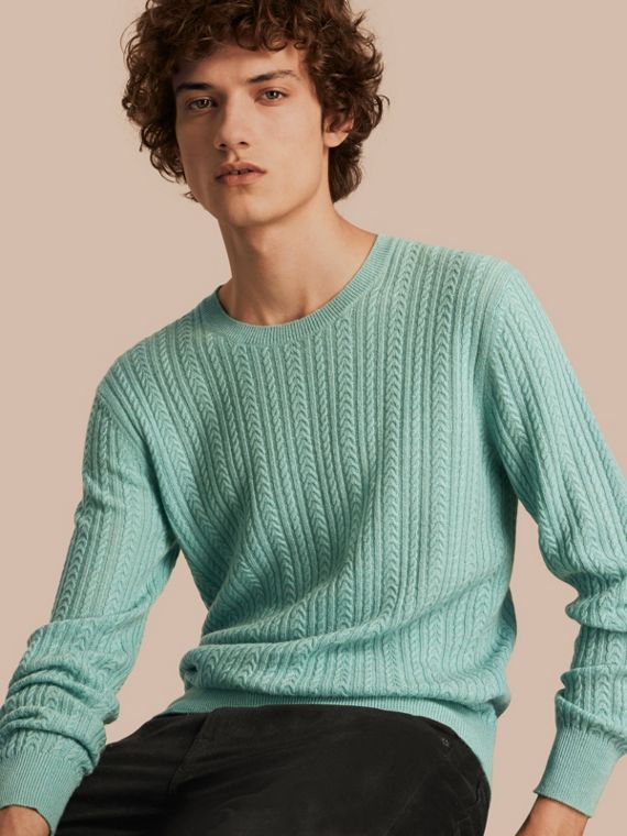 Aran Knit Cashmere Sweater in Pale Peridot Blue