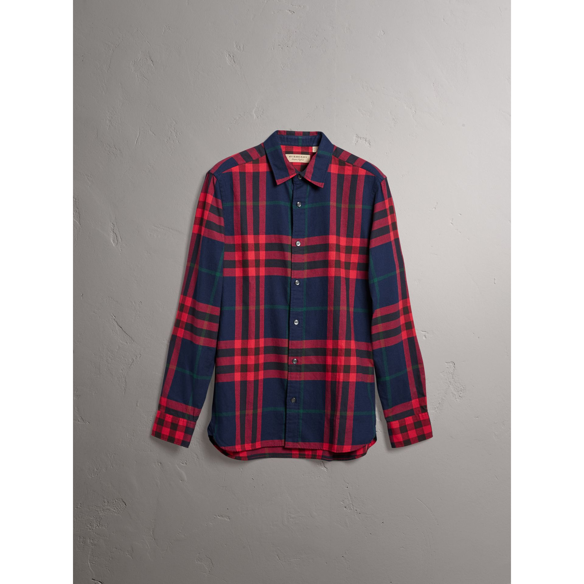 Check Cotton Flannel Shirt in Ink Blue - Men | Burberry United Kingdom - gallery image 3