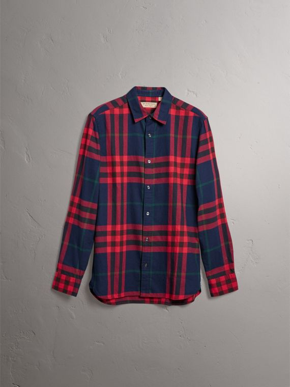 Check Cotton Flannel Shirt in Ink Blue - Men | Burberry - cell image 3