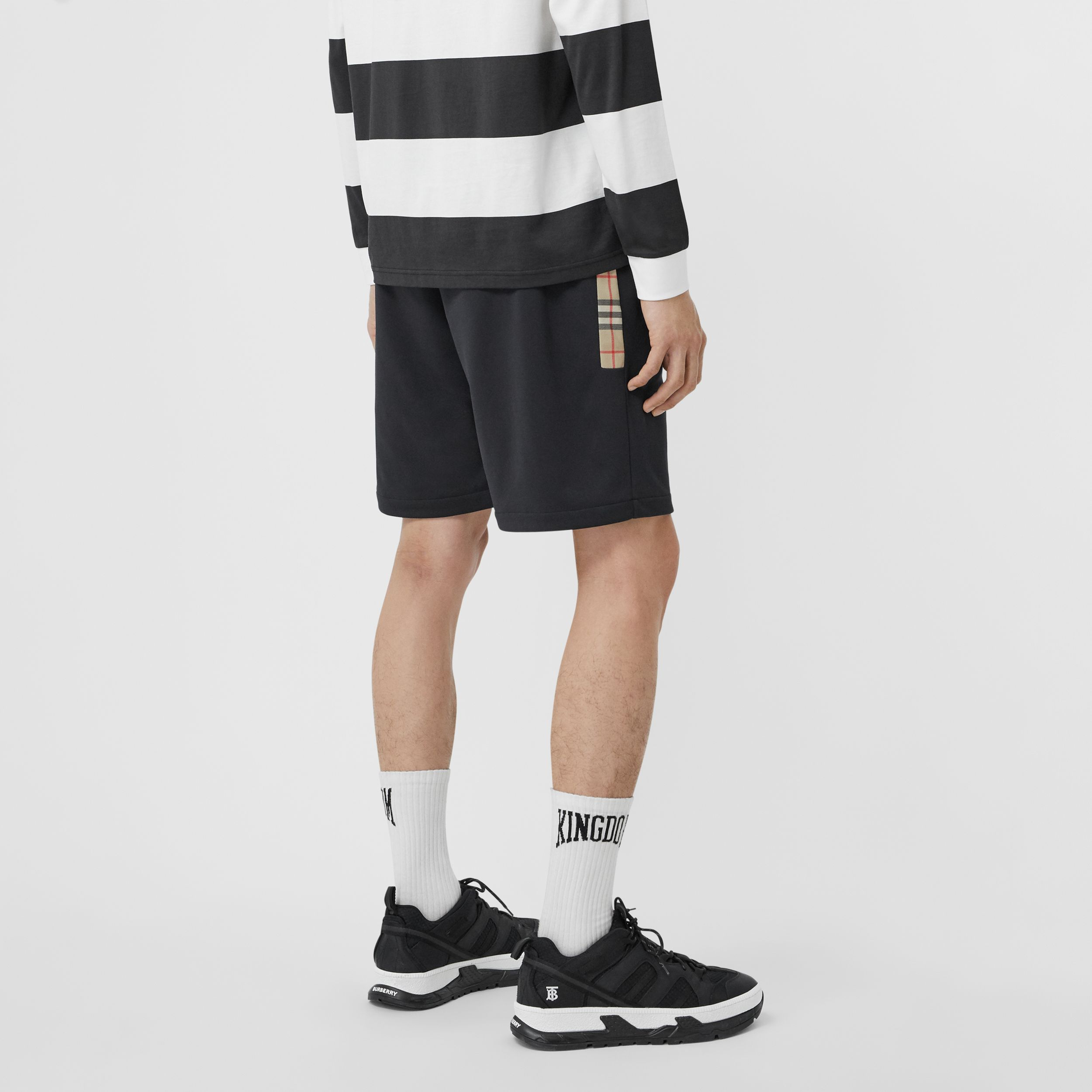 Vintage Check Trim Technical Twill Shorts in Black - Men | Burberry Singapore - 3