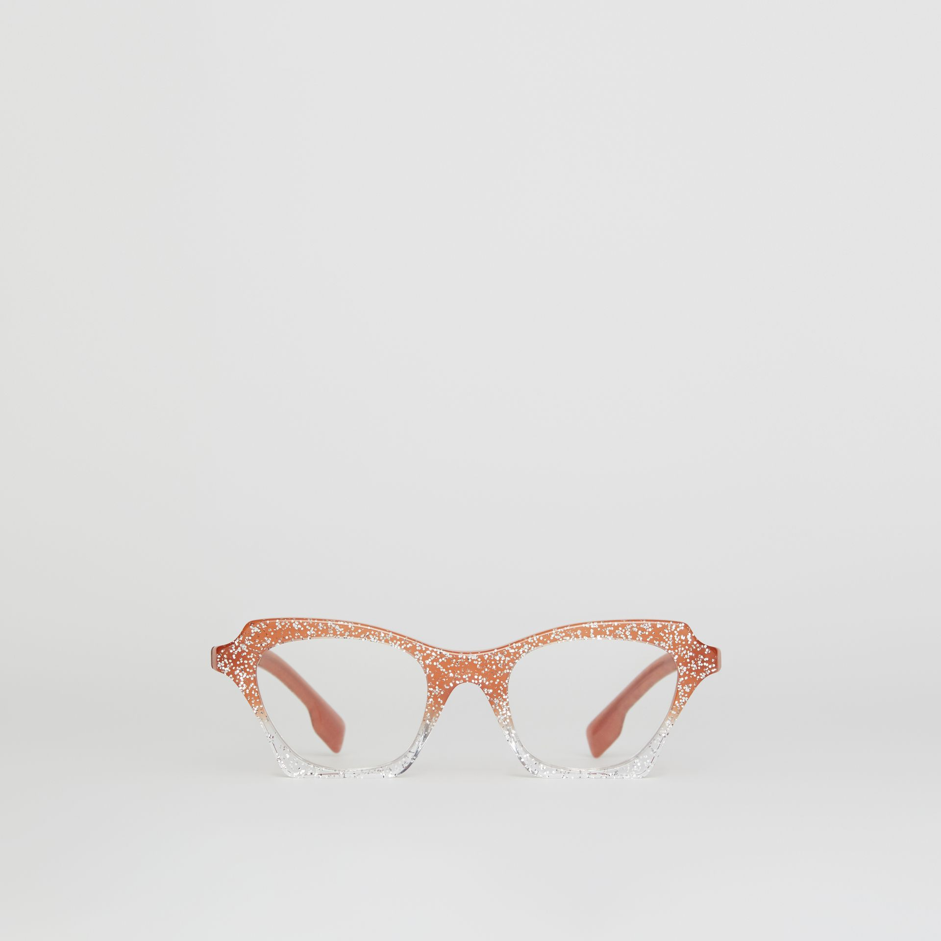 Glitter Detail Butterfly Optical Frames in Peach - Women | Burberry - gallery image 0