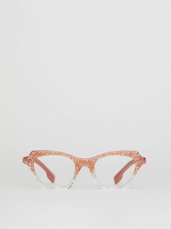 Glitter Detail Butterfly Optical Frames in Peach