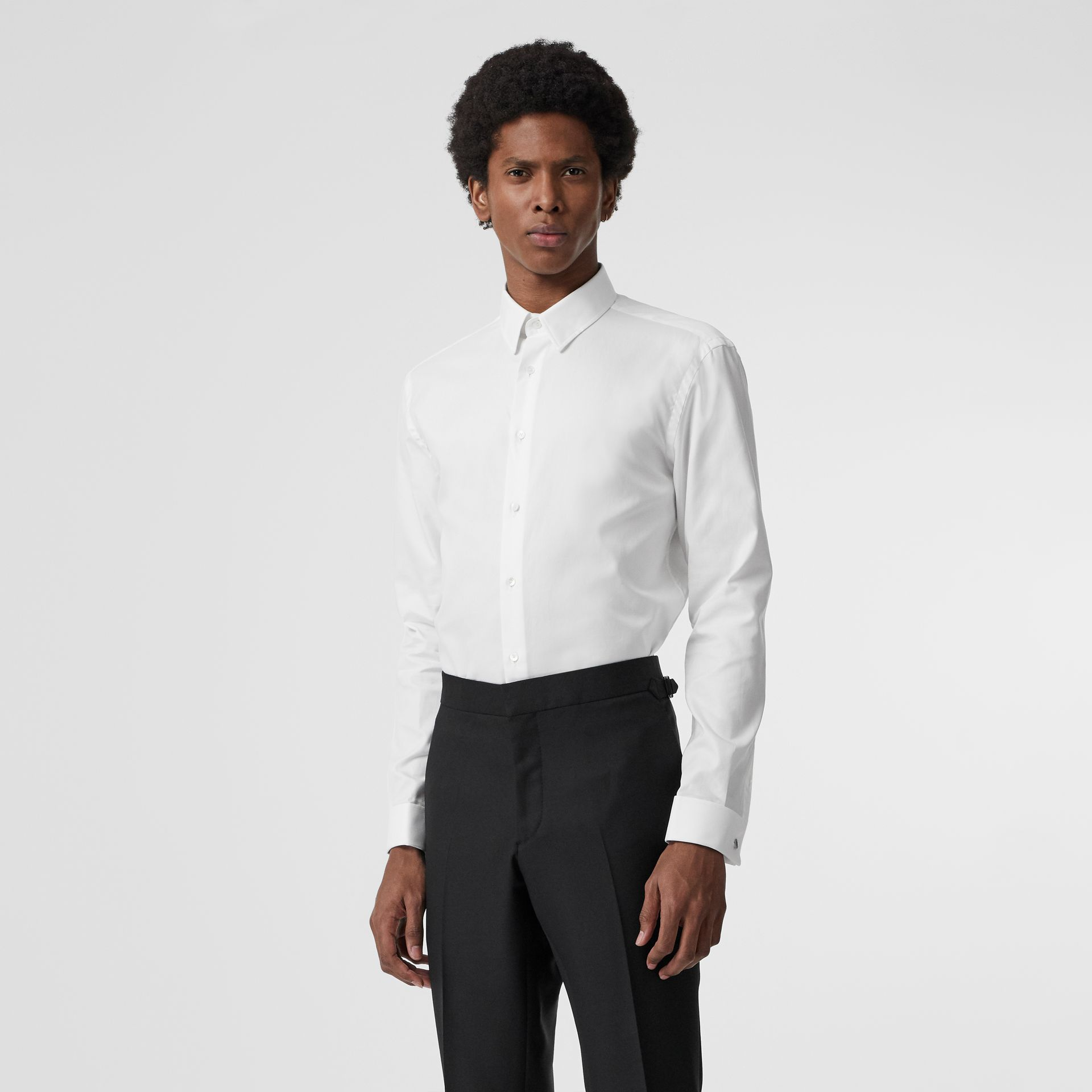 Modern Fit Double Cuff Cotton Shirt in White - Men | Burberry - gallery image 0