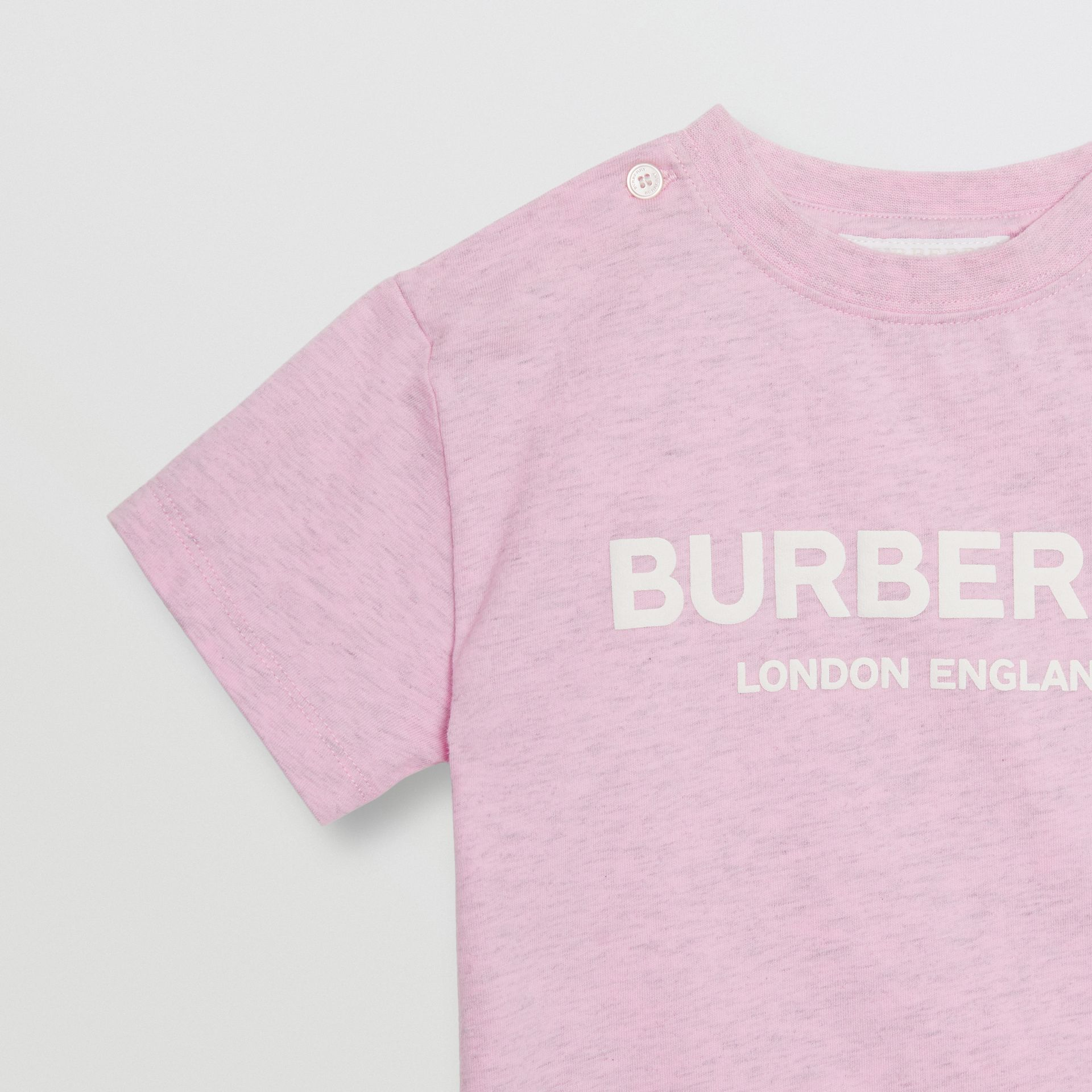 Logo Print Cotton T-shirt in Pale Neon Pink - Children | Burberry - gallery image 4