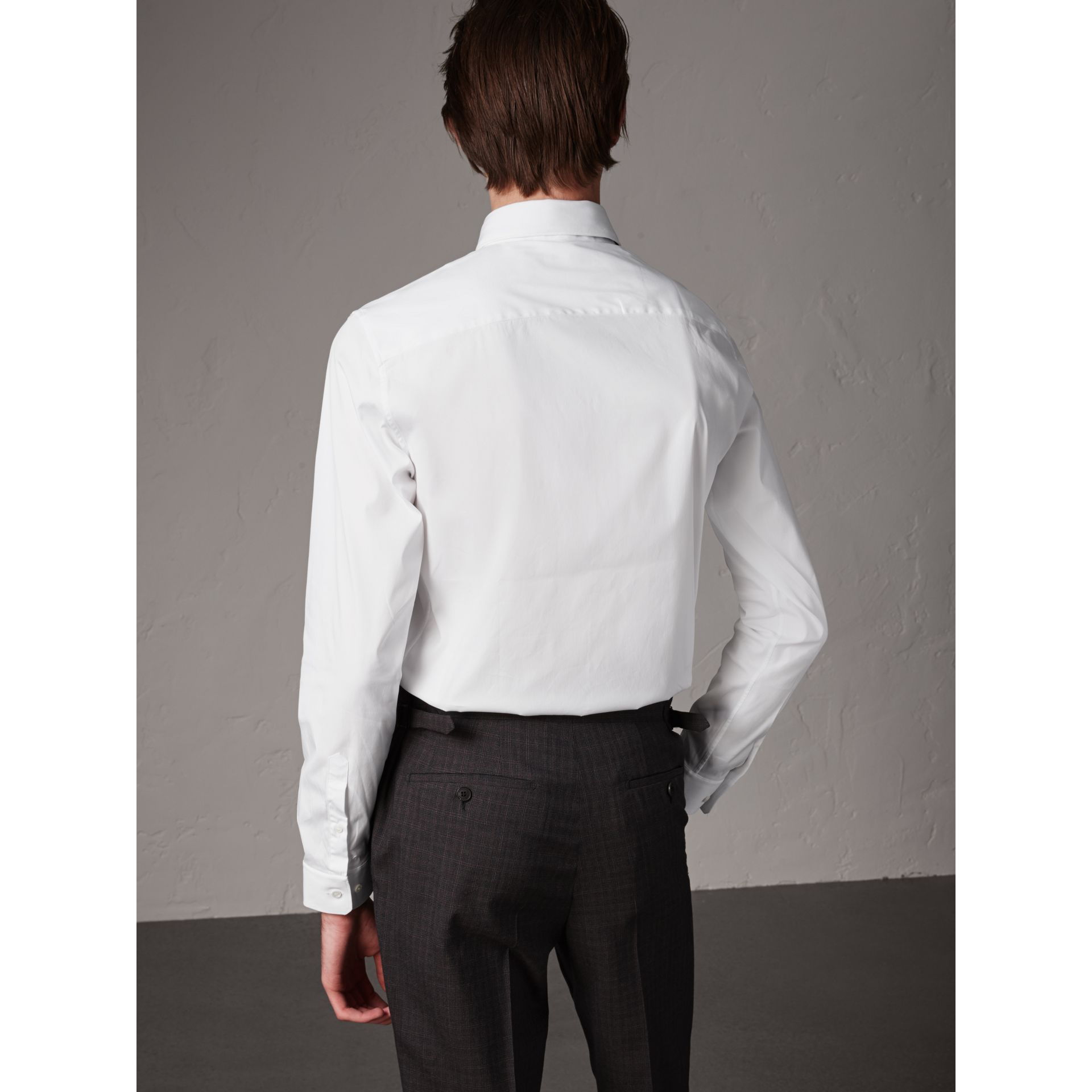 Slim Fit Stretch Cotton Shirt in White - Men | Burberry - gallery image 2