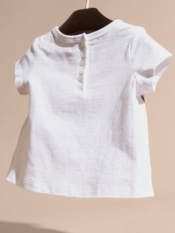Rosa gesso T-shirt in cotone con gatto - cell image 3