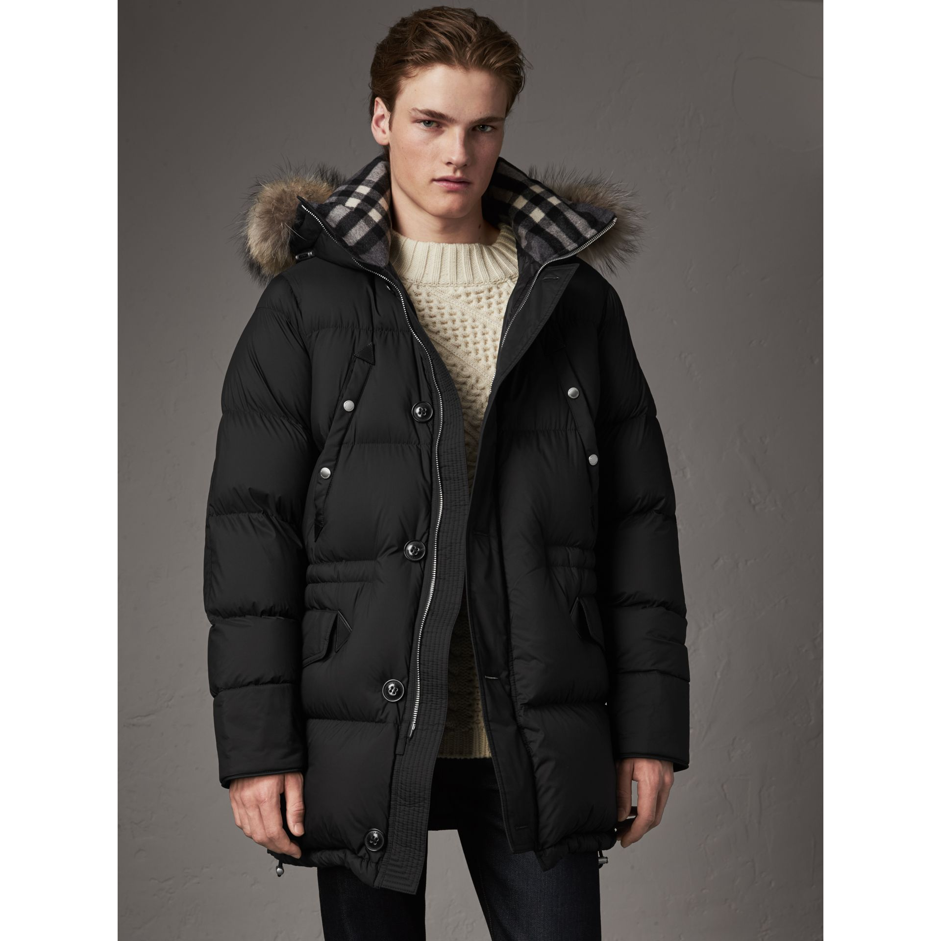 Detachable Raccoon Fur Trim Hood Down-filled Parka in Black - Men | Burberry - gallery image 1