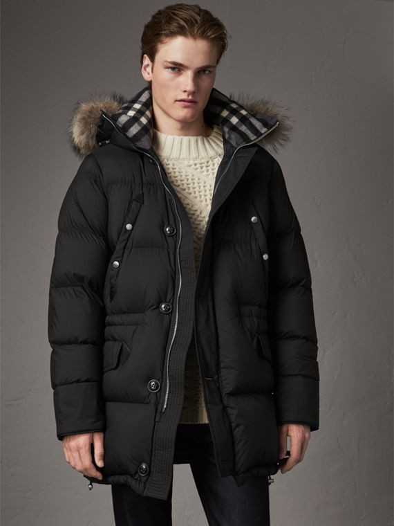 Detachable Raccoon Fur Trim Hood Down-filled Parka in Black