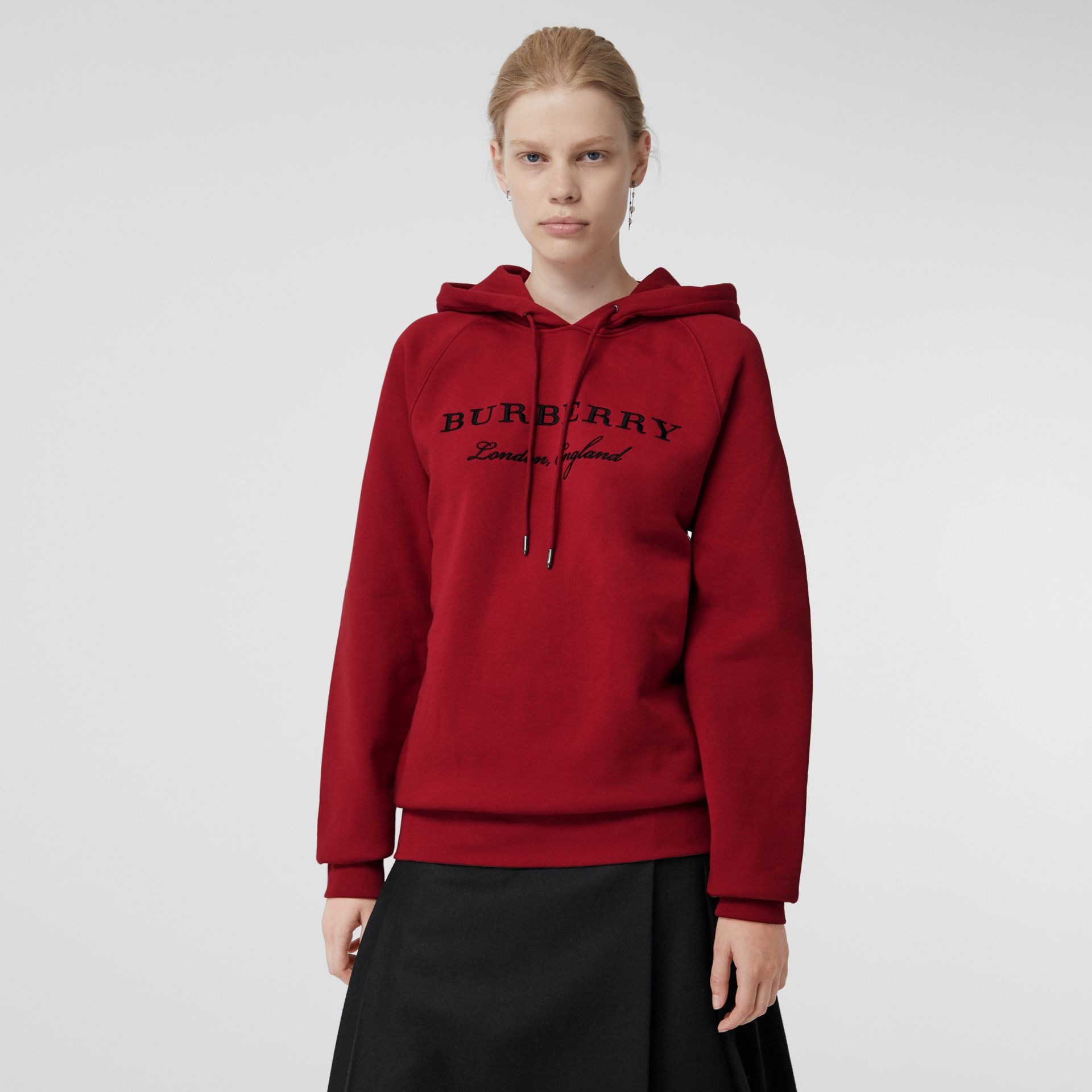 Embroidered Hooded Sweatshirt in Parade Red - Women | Burberry United Kingdom - gallery image 4