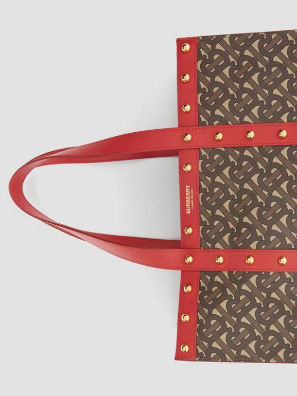 Monogram Print E-canvas Portrait Tote Bag in Bright Red - Women | Burberry - cell image 1