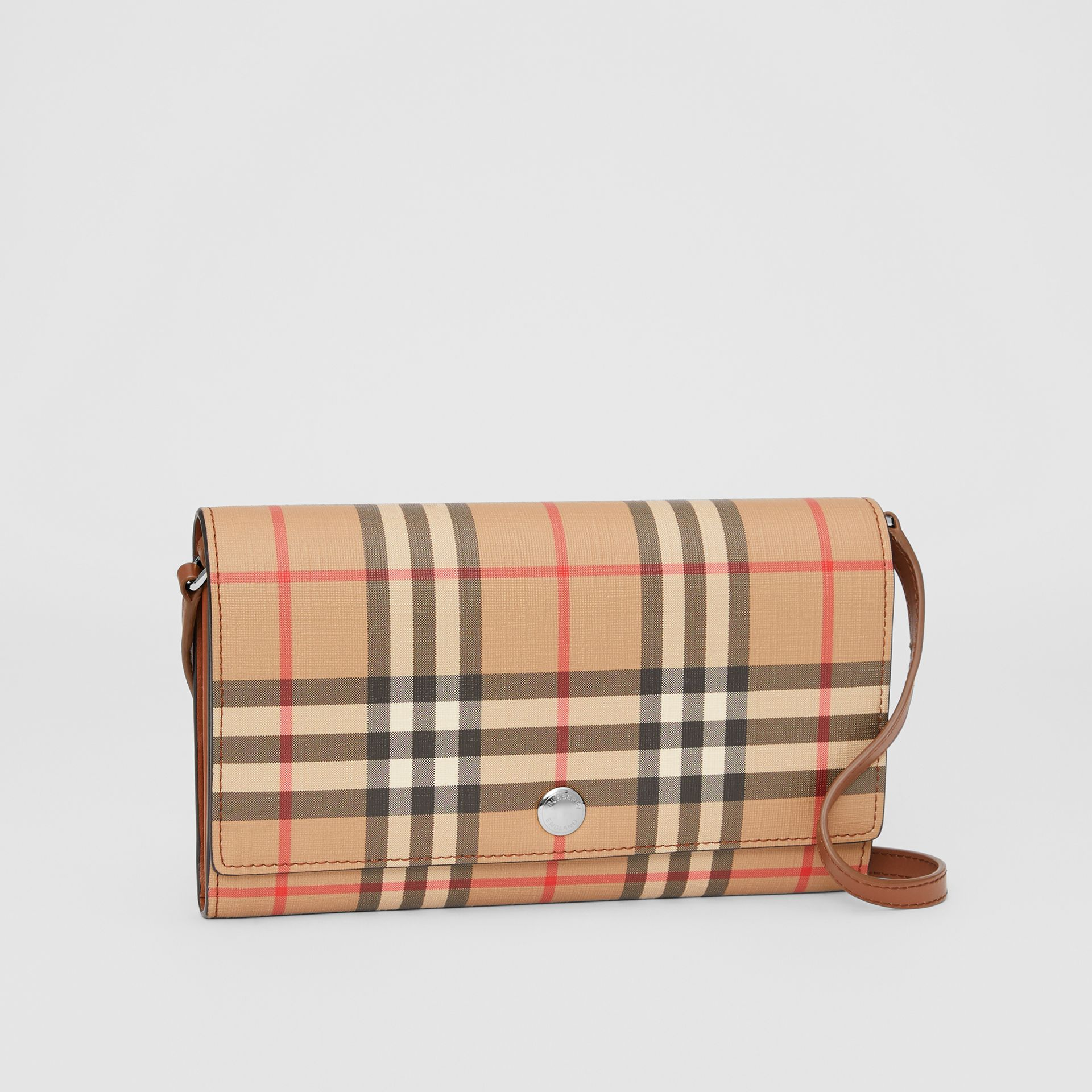 Vintage Check E-canvas Wallet with Detachable Strap in Malt Brown - Women | Burberry - gallery image 6
